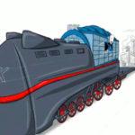 Wie funktioniert die Vollversammlung ist das Thema des Erklärfilmes der Filmproduktion Karlsruhe mp-film für die IHK Berlin. Ein Screenshot einer 2D Animation zeigt die IHK Lokomotive, die die Unternehmen der Stadt auf Wagons hinter sich herzieht. Bild auf der Seite Portfolio.