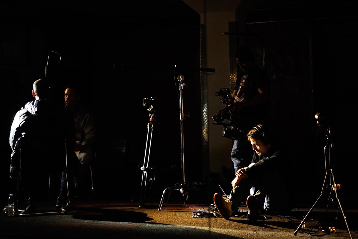 Das Filmteam im Streiflicht Dreharbeiten der mp-film Filmproduktion Karlsruhe mit dem Blindenfußballer Mulgheta Russom