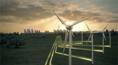 Screenshot einer 3D-Animation eines Windparks der vor einer Stadt steht. Die produzierte nachhaltige Energie fließt leuchtend in Richtung City. Die Szene stammt aus dem Erklärfilm der Filmproduktion Karlsruhe mp-film für Vattenfall. Bild auf der Seite Portfolio.