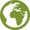 Eine grünes Icon stellt symbolisch eine Weltkugel dar und steht für den mp-film-Service dem Kunden bei der Distribution zu unterstützen