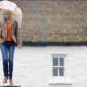 Für Ihr Video tutorial tanzt Edwina Guckian mit Regenschirm auf einer Mauer