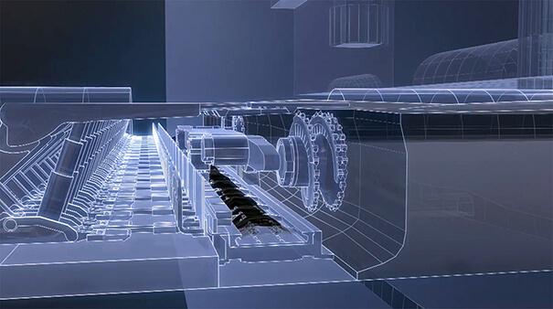 Das Bild zeigt eine 3D Animation eines Walzenschrämmladers, der Steinkohle aus dem Flöz bricht. Der Erklärfilm der Filmproduktion Karlsruhe zeigt moderne Technologie unter Tage und stellt dar wie ein Bergwerk funktioniert.