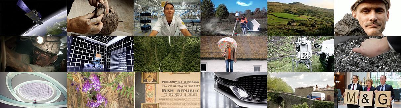 Mosaik aus verschiedenen Bildern die alle Filmprojekten entstammen die die Filmproduktion Karlsruhe mp-film realisiert hat.