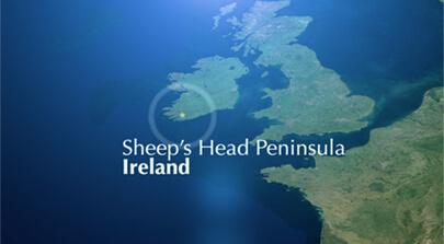 Screenshot einer 2D Animation. Aus der Vogelperspektive ist Irland zu sehen. Der Süden Irlands ist mit einem Stern markiert. Bild auf der Seite Portfolio. Dort befindet sich der Sheep's Head Way. Eventfilm produziert von der Filmproduktion Karlsruhe mp-film für die Verleihung des Eden Awards der durch die Europäische Kommission vergeben wird.
