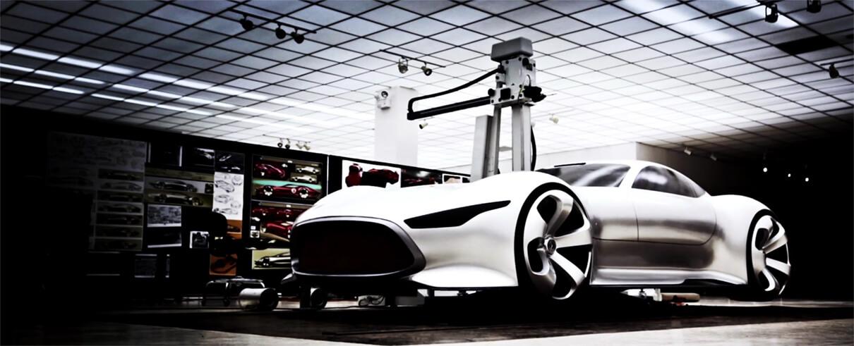 Ist der Gran Turismo, der Mercedes-Benz der Zukunft? 2D-Animation und 3D-Animation Modell eines futuristischen Autos. Bild aus einem Werbefilm der Filmproduktion Karlsruhe mp-film.