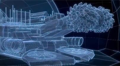 Moderne Technologie unter Tage: Das Bild zeigt eine hochauflösende 3D Animation einer Teilschnittmaschine basierend auf CAD-Daten. Der Erklärfilm wurde von der Filmproduktion Karlsruhe mp-film für die Deutsche Steinkohle AG produziert. Bild auf der Seite Portfolio.