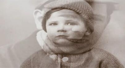 Porträt zwei überblendete Bilder vom Begründer der Mosolf Gruppe Horst Mosolf als Kind. Eventfilm zum Firmenjubiläum produziert von Filmproduktion Karlsruhe mp-film.