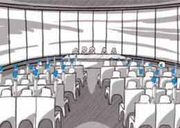 Das Bild zeigt als 2D Animation die IHK Vollversammlung bei der Abstimmung. Die Teilnehmer halten blau Karten in der Hand um Zustimmung zu signalisieren. Der Erklärfilm der Filmproduktion Karlsruhe mp-film für die IHK Berlin stellt dar wie die Vollversammlung der IHK funktioniert.
