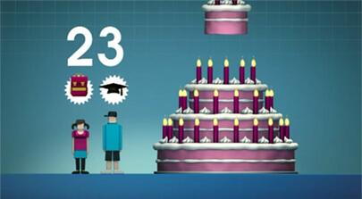Erklärfilm der Filmproduktion Karlsruhe mp-film. Das Bild - eine 2D Animation - zeigt eine Szene aus einem Erklärfilm die die Filmproduktion Karlsruhe mp-film für die TK produziert hat. Ein Junge und ein Mädchen stehen neben einer überdimensionalen Torte mit Kerzen. Die Zahl 23 zeigt an ab welchem Lebensjahr die TK besondere Vorteile bietet.