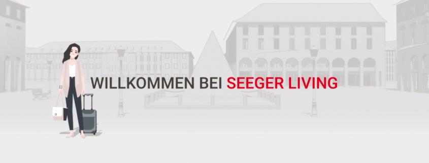 Erklärfilm Karlsruhe Cartoon Frau steht an der Kalrsruher Pyramide und lächelt